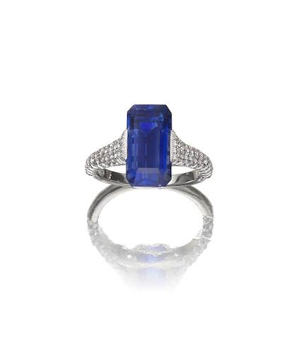A sapphire and diamond ring, by Hatik