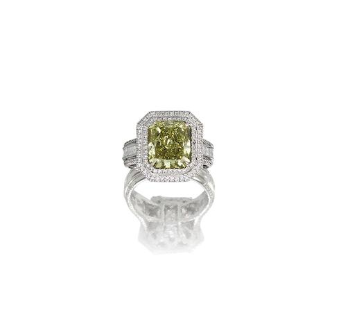 A fancy coloured diamond and diamond ring