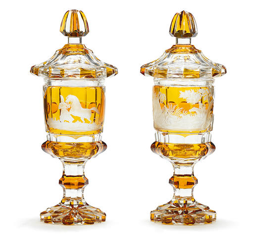 A pair of Bohemian part-amber-stained goblets and covers probably by August Böhm, Meistersdorf, circa 1840-50