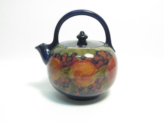 A William Moorcroft 'Pomegranate' tea kettle Circa 1920