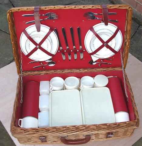 A Brexton four person wicker picnic basket,