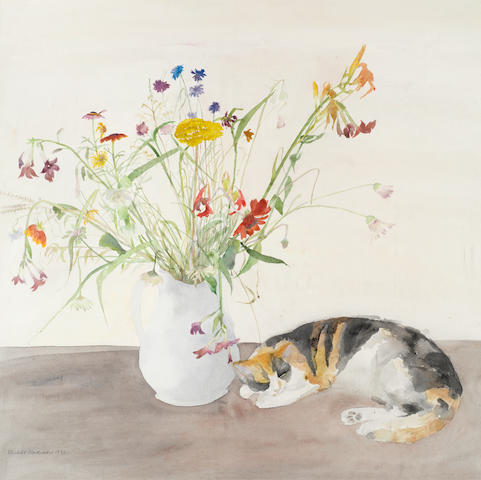 Dame Elizabeth Blackadder OBE RA RSA RSW RGI DLitt (British, born 1931) Cat and Flowers 71 x 71 cm. (27 15/16 x 27 15/16 in.)