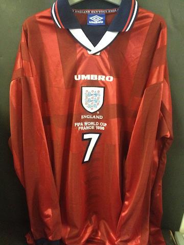David Beckham match worn shirt - England v Columbia France World Cup 1998