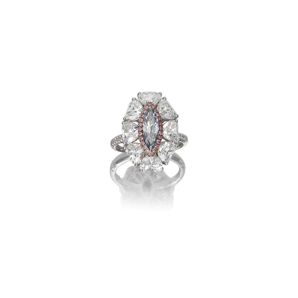 A fancy coloured diamond and diamond dress ring