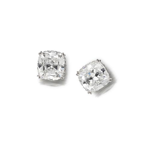 A pair of diamond earstuds, by Graff