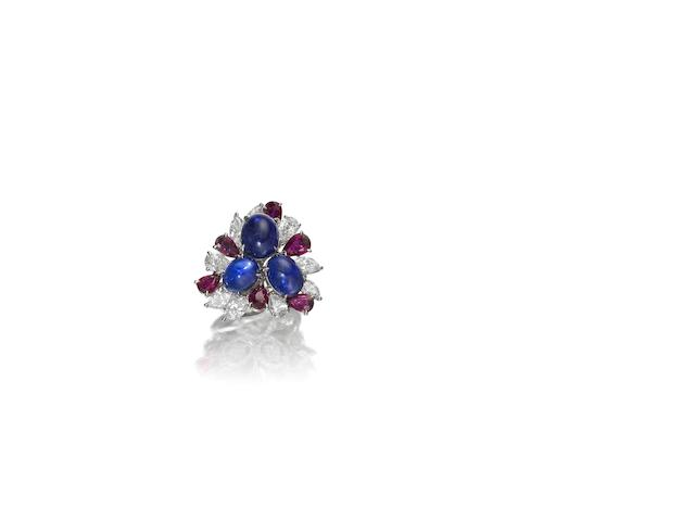 A ruby, sapphire and diamond dress ring