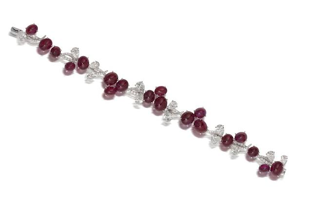 An exceptional ruby and diamond bracelet, by JW Currens for Faidee