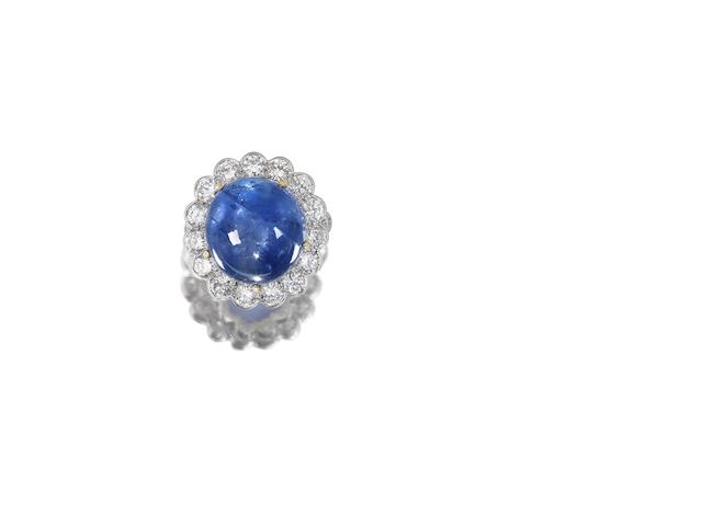 A sapphire and diamond cluster ring, by Van Cleef and Arpels
