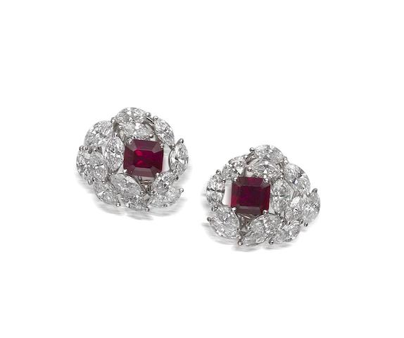 An impressive pair of ruby and diamond earrings