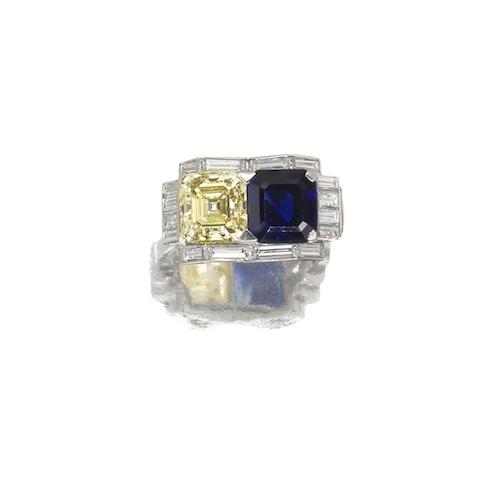 An unusual fancy coloured diamond, sapphire and diamond ring,