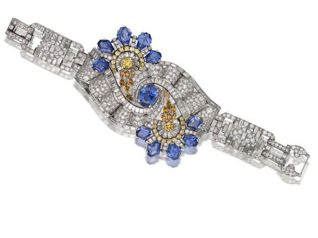 An impressive art deco sapphire, diamond and coloured diamond bracelet, by Oscar Heyman,