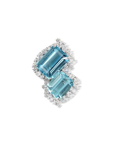 An aquamarine and diamond brooch, by Cartier