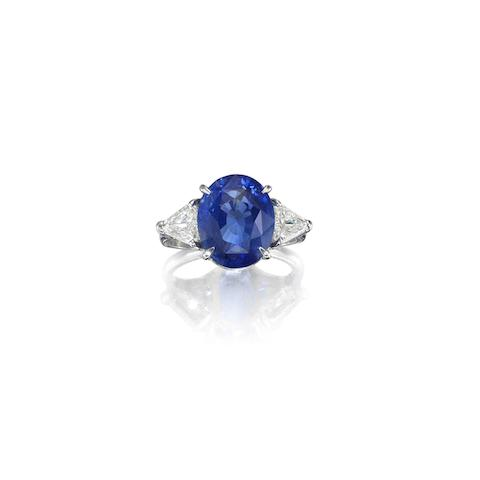 A sapphire and diamond three-stone ring, by Piranesi