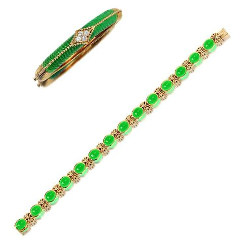 A chrysoprase bracelet and a chrysoprase and diamond bangle, by Van Cleef and Arpels (2)