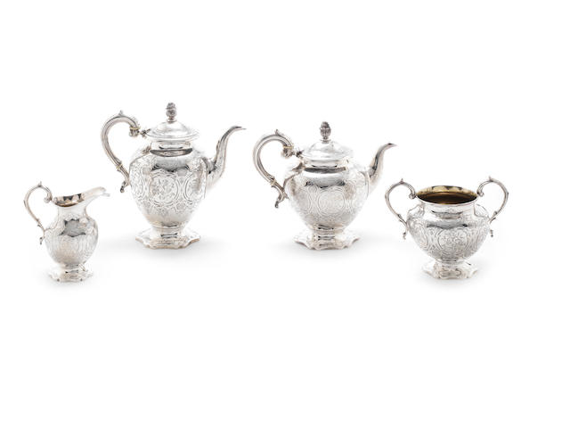A Victorian silver four-piece tea and coffee service by Richard Pierce & George Burrows, London 1847 (4)
