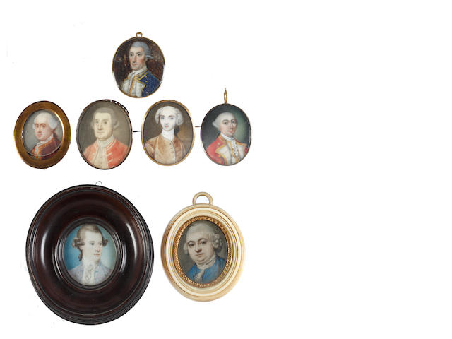 British and Continental Schools, Late 18th Century A collection of seven portrait miniatures portraying Gentlemen; one attributed to Richard Cosway, R.A. (British, 1742-1821)
