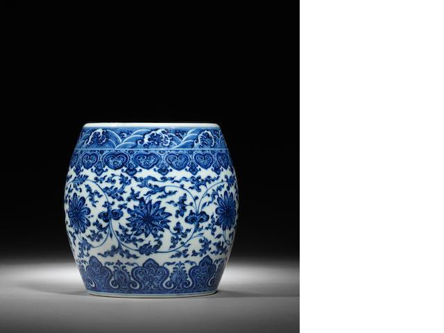 A rare blue and white barrel-shaped jar Qianlong seal mark