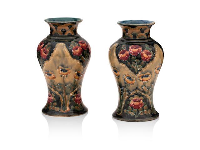 A pair of Macintyre Florian Ware vases Circa 1900