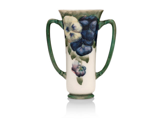 A William Moorcroft Macintyre 'Pansy' twin handled vase Circa 1912