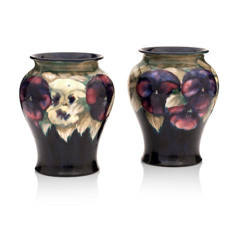 A pair of William Moorcroft 'Pansy' vases Circa 1920