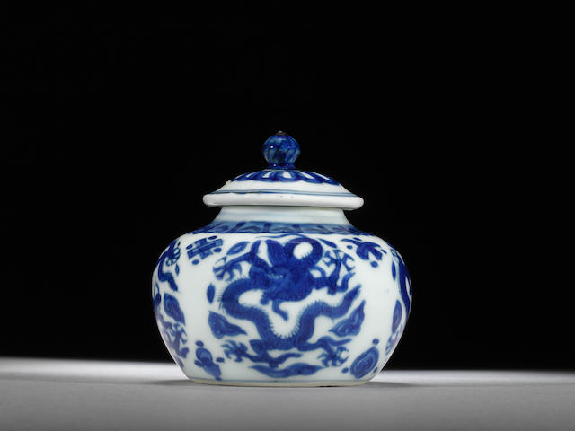 An extremely rare blue and white 'dragon and bajixiang' jarlet and cover Wanli six-character mark and of the period