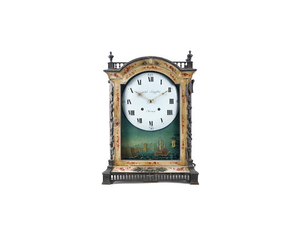 A scarce late 18th century German white lacquer organ clock Probably Jaquet-Droz for Michel Henggeller, Munich