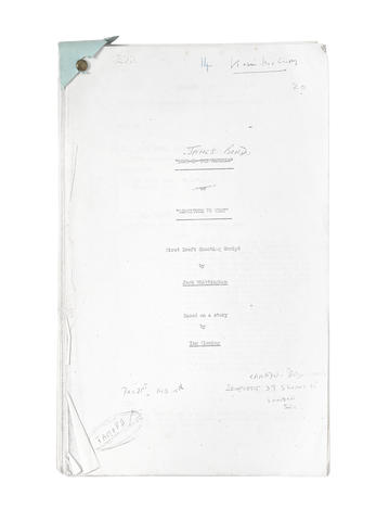Jack Whittingham / James Bond: A first draft copy shooting script Longitude 78 West the original title for Thunderball, circa December - February, 1960,