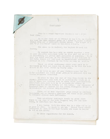 Ian Fleming / James Bond: A copy Memorandum to Jack Whittingham and copy first draft screen treatment titled James Bond of the Secret Service,