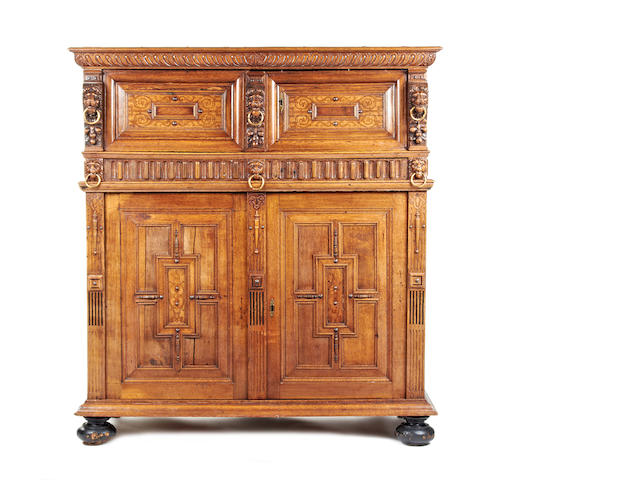 A 17th century and later oak and marquetry inlaid cabinet, Flemish