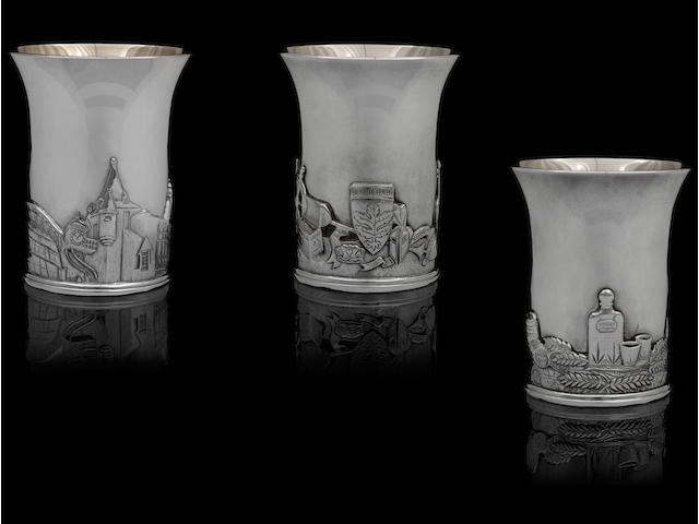 A good set of six limited edition silver beakers by Hamilton & Inches, Edinburgh 1999-2004