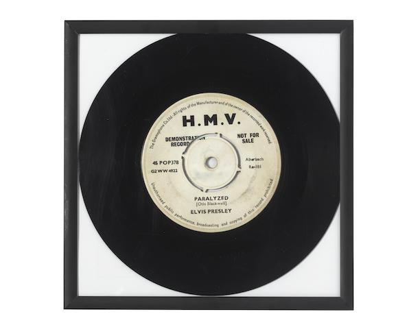 Elvis Presley: A demo pressing of 'Paralyzed', 1957,