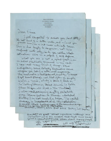 Stephen Stills: An interesting five-page letter written to a fan, 1972,