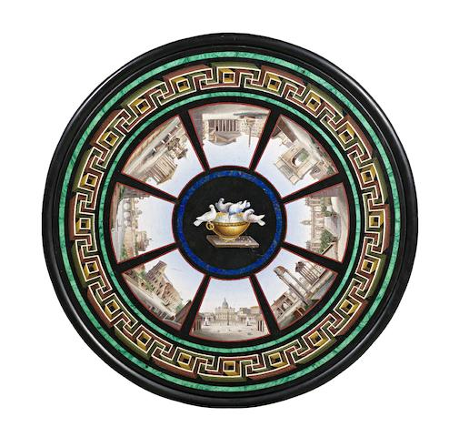 A fine Roman 19th century micromosaic, malachite, lapis lazuli, rosso antico and Belgian black marble table top