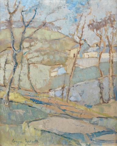 Anne Redpath, OBE RSA ARA LLD ARWS ROI RBA (British, 1895-1965) Border Landscape 53.3 x 43.2 cm. (21 x 17 in.)