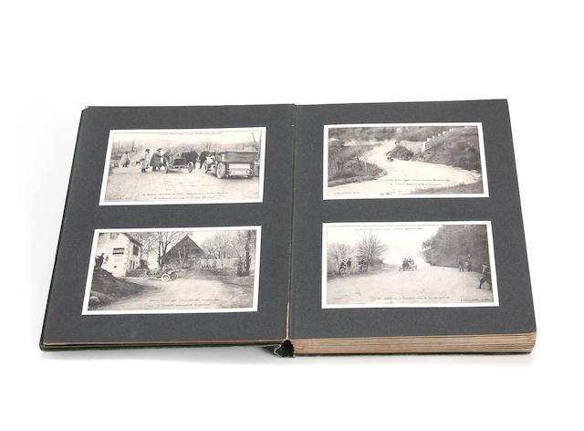 An album of 1905 Coupe Gordon Bennett postcards,