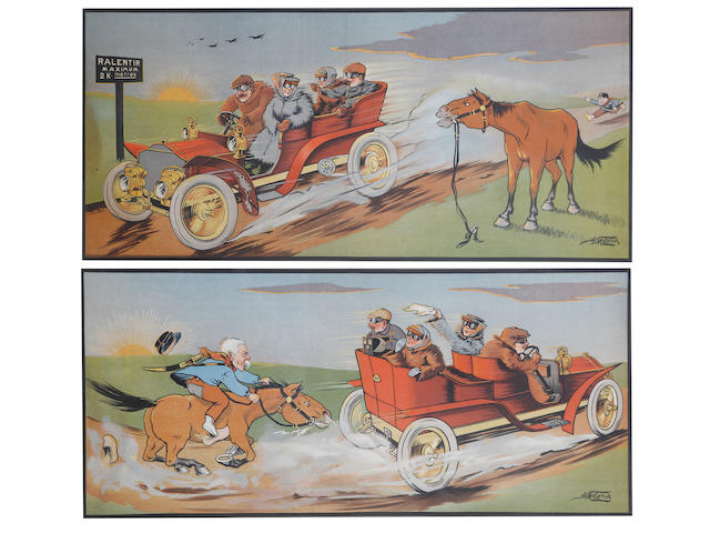 Two colour lithographic motoring prints after A Molynk, circa 1905,