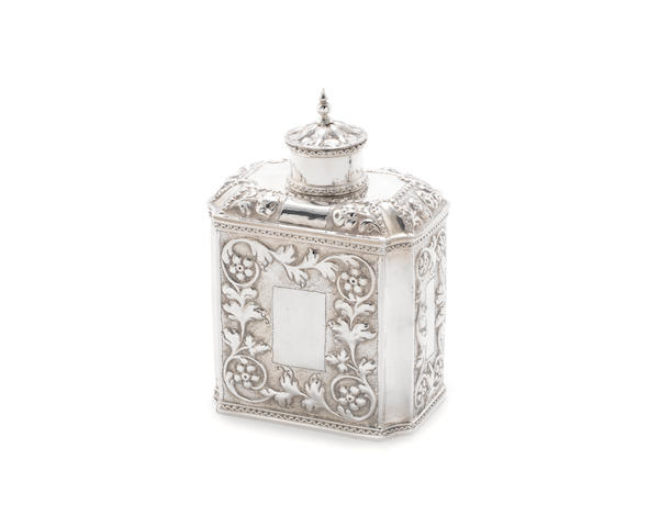 An early 18th century Dutch silver tea caddy by Pieter de Both, Haarlem 1725