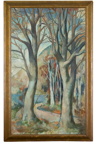 William Crosbie, RSA RGI (British, 1915-1999) Beeches, Tigh-na-Darrach 120 x 71 cm. (47 1/4 x 27 15/16 in.)