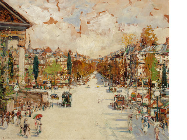 James Kay RSA RSW (British, 1858-1942) The Madeleine, Paris 50 x 60.2 cm. (19 5/8 x 23 5/8 cm.)