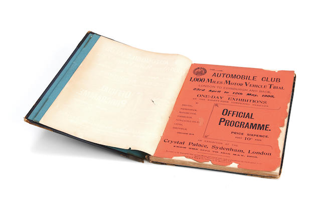 A '1,000 Miles Motor Vehicle Trial' official programme, 1900,