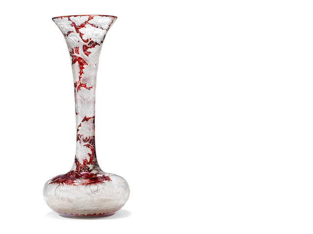 A massive Bohemian ruby-stained bottle vase, circa 1850-60