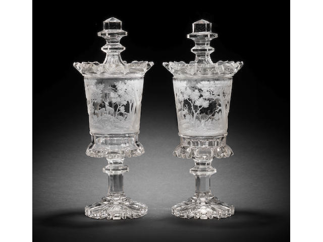 A very fine pair of Bohemian clear glass goblets and covers, circa 1840-50
