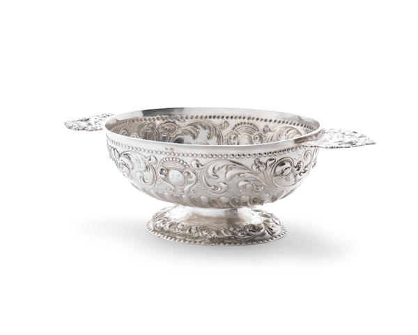 A Dutch silver brandy bowl marks rubbed, also with later tax mark