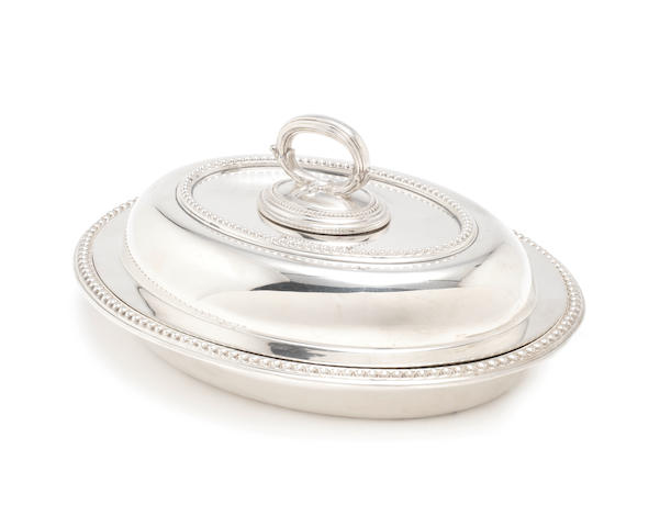 A late Victorian silver entrée dish, cover and liner by Barnabus Blackburn, London 1899