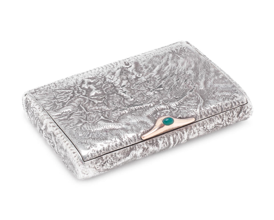 A late 19th / early 20th century Austro-Hungarian silver cigarette case by Georg Adam Scheid, Vienna, 1886-1922 together with an early 20th century Russian silver 'Samorodok' cigarette case, St Petersburg, 1908 - 17, (2)