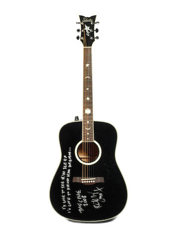 The Cure: A Schecter RS 1000 guitar in black gloss finish owned and played by Robert Smith,