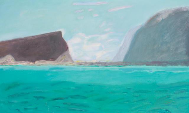 Dame Elizabeth Blackadder OBE RA RSA RSW RGI DLitt (British, born 1931) Lake Brienz 76 x 127 cm. (29 15/16 x 50 in.)