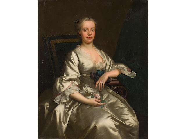 Thomas Hudson (Devon 1701-1779 Twickenham) Three-quarter length portrait, called Flora MacDonald 126 x 101 cm. (49 5/8 x 39 3/4 in.)
