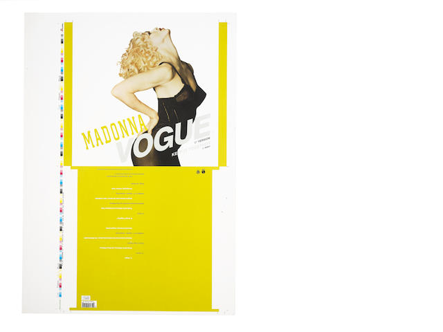 Madonna: Single cover proofs for the single 'Vogue', Sire Records, 1990,