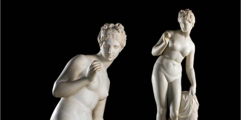 "A very fine early 19th century Neoclassical white marble sculpture of ""Venere"", on a grey porphyry pedestal attributed to Bertel Thorvaldsen (1770-1844) or his circle"